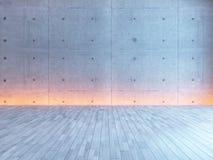 Tom inredesign med den under-ljusa betongväggen Arkivfoto