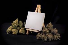 Tom kanfas på staffli med torkade cannabisknoppar som isoleras över bla Royaltyfri Bild