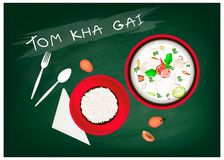 Tom Kha Gai  or Chicken Coconut Milk Soup on Chalkboard Royalty Free Stock Photography