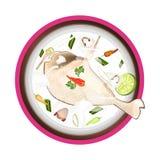 Tom Kha Gai  or Thai Chicken Cream Soup Stock Photo