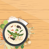 Tom Kha Gai ,Thai Chicken soup in coconut milk. Vector illustration design of Asian food, Tom Kha Gai ,Thai Chicken soup in coconut milk , with ingredients, top Stock Photography