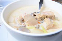 Tom kha kai -chicken in coconut milk soup Stock Photos