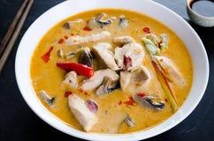 Tom Kha Kai-soep met paddestoelen Stock Afbeelding