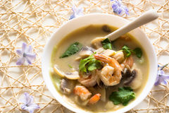 Tom Kha soup with prawns and mushrooms Royalty Free Stock Photo