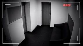 Tom korridorsikt till och med bevakningkamera, skydd för privat egenskap royaltyfria foton