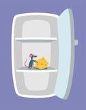 Tom kyl och mus med ost inom den Otäckt tjalla gnagaren som äter foten i kylskåpet royaltyfri illustrationer