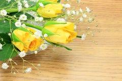 Rosa del amarillo e hierba de la neblina Imagen de archivo