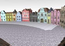 Tom liten gammal belgisk stadfyrkant Arkivfoton