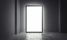 Tom ljus inomhus affischtavla med den svarta ramen bredvid gråa väggar, tolkning 3d stock illustrationer