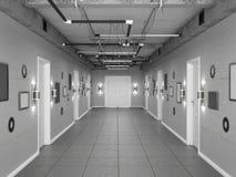 Tom mörk vind-stil korridor med vita dörrar illustration 3d Arkivfoto