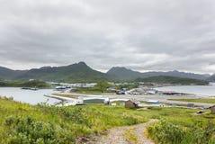 Tom Madsen Airport in Nederlandse Haven, Unalaska, Alaska stock afbeelding