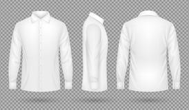 Tom manlig skjorta för vit med främsta långa muffar, sida, baksidasikter Realistisk isolerad vektormall vektor illustrationer