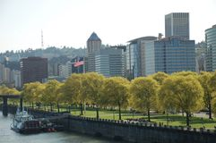 Tom McCall Waterfront Park in Portland, Oregon. This is Tom McCall Waterfront Park in Portland, Oregon along the Willamette River, with office buildings in the royalty free stock image