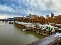Tom McCall Waterfront Park and Willamette river stock photography