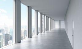 Tom modern ljus ren inre av ett öppet utrymmekontor Enorma panorama- fönster med den New York sikten Ett begrepp av lyxigt utrymm royaltyfri illustrationer