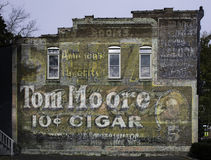 Tom Moore Cigar Painted Brick Ad Stock Image