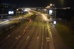 Tom motorväg på natten Royaltyfri Fotografi