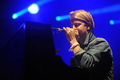 Tom Odell. English singer Tom Odell during his performance at festival Rock for People in Hradec Kralove, Czech republic, July 3, 2014 stock images