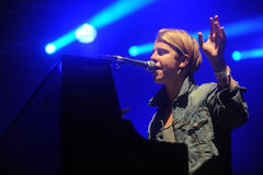 Tom Odell. English singer Tom Odell during his performance at festival Rock for People in Hradec Kralove, Czech republic, July 3, 2014 royalty free stock images