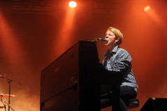 Tom Odell. English singer Tom Odell during his performance at festival Rock for People in Hradec Kralove, Czech republic, July 3, 2014 royalty free stock photo