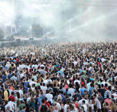 Tom Odell performs live. CLUJ NAPOCA, ROMANIA – JULY 30, 2015: Tom Odell performs a live concert in the front of a crowd of partying people at the Untold royalty free stock images
