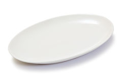 Tom oval vit platta Fotografering för Bildbyråer