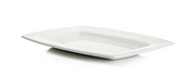 Tom platta för vit fyrkant som isoleras på vit Arkivbild