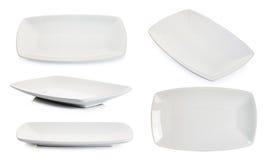 Tom platta för vit fyrkant som isoleras på vit Royaltyfri Bild