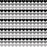 Tom preto e cinzento pouco fundo do teste padrão do coração Imagens de Stock Royalty Free