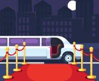 Tom röd händelsematta med repbarriären Lyxig rittlimousine med den öppnade dörren på cityscapebakgrund kändis stock illustrationer