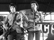 The Tom Robinson Band. Danny Kustow (left) and Tom Robinson of British pop group The Tom Robinson Band, perform live in London on April 30, 1978 Stock Photography