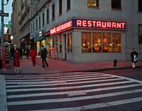 Toms Restaurant, Manhattan New York. Toms Restaurant, or Munks in the Seinfeld TV Show,  Broadway and 112 th Street, New York with christmas decorations up Royalty Free Stock Photography