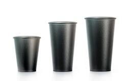 Tom svart disponibel åtlöje för pappers- kopp ups isplated, stort Arkivbilder