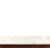 Tom svart isolat för marmortabellöverkant på vit bakgrund, tjänstledighet arkivfoton
