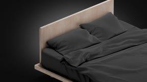 Tom svart säng med kuddeåtlöje ups, isolerat royaltyfria bilder