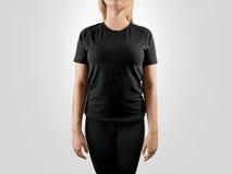 Tom svart t-skjorta designmodell, Fotografering för Bildbyråer