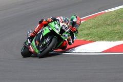 Tom Sykes #66 auf Kawasaki ZX-10R Kawasaki Racing Team Superbike WSBK Lizenzfreie Stockfotos