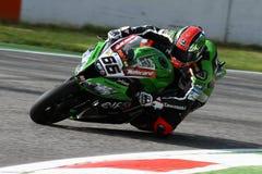 Tom Sykes #66 op Kawasaki zx-10R Kawasaki Racing Team Superbike WSBK Royalty-vrije Stock Foto