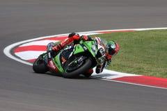 Tom Sykes #66 op Kawasaki zx-10R Kawasaki Racing Team Superbike WSBK Royalty-vrije Stock Foto's