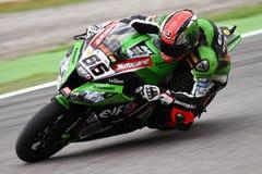 Tom Sykes #66 på Kawasaki ZX-10R Kawasaki Racing Team Superbike WSBK Royaltyfri Bild