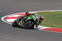 Tom Sykes #66 sur Kawasaki ZX-10R Kawasaki Racing Team Superbike WSBK photos libres de droits
