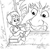 Tom Thumb. Black-and-white illustration (coloring page): Tom Thumb sits on a box (fairy-tale character Stock Photos