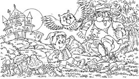 Tom Thumb. Black-and-white illustration for a coloring book: Tom Thumb and Ogre Royalty Free Stock Images