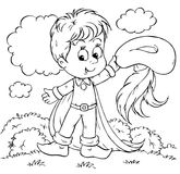 Tom Thumb. Black-and-white illustration (coloring page): Tom Thumb waves his hat Royalty Free Stock Photography