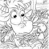 Tom Thumb and Cow. Black-and-white illustration (coloring page): Tom Thumb talks to a cow in a cattleshed Stock Image