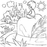 Tom Thumb (fairy-tale character). Black-and-white illustration (coloring page): Tom Thumb sitting on a hat looks at a castle Stock Photos