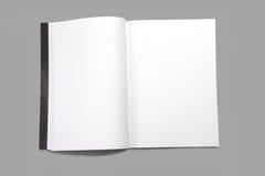 Tom tidskrift för vit sida arkivbild