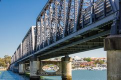 Tom Uglys Bridge is pratt truss spans that cross the Georges River in southern Sydney, in the state of New South Wales, Australia. The Tom Uglys Bridge is pratt stock photo