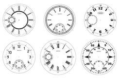 Tom uppsättning för klockaframsida som isoleras på vit bakgrund Vektorklockadesign Roman siffer- klockaillustration för tappning  vektor illustrationer