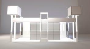 Tom utställningställning 3d framför isolerat på vit bakgrund, tom ställning för handelhändelse med Royaltyfria Foton